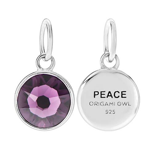 CR1128 Peace February Birthstone Amethyst Swarovski Crystal V2 copy